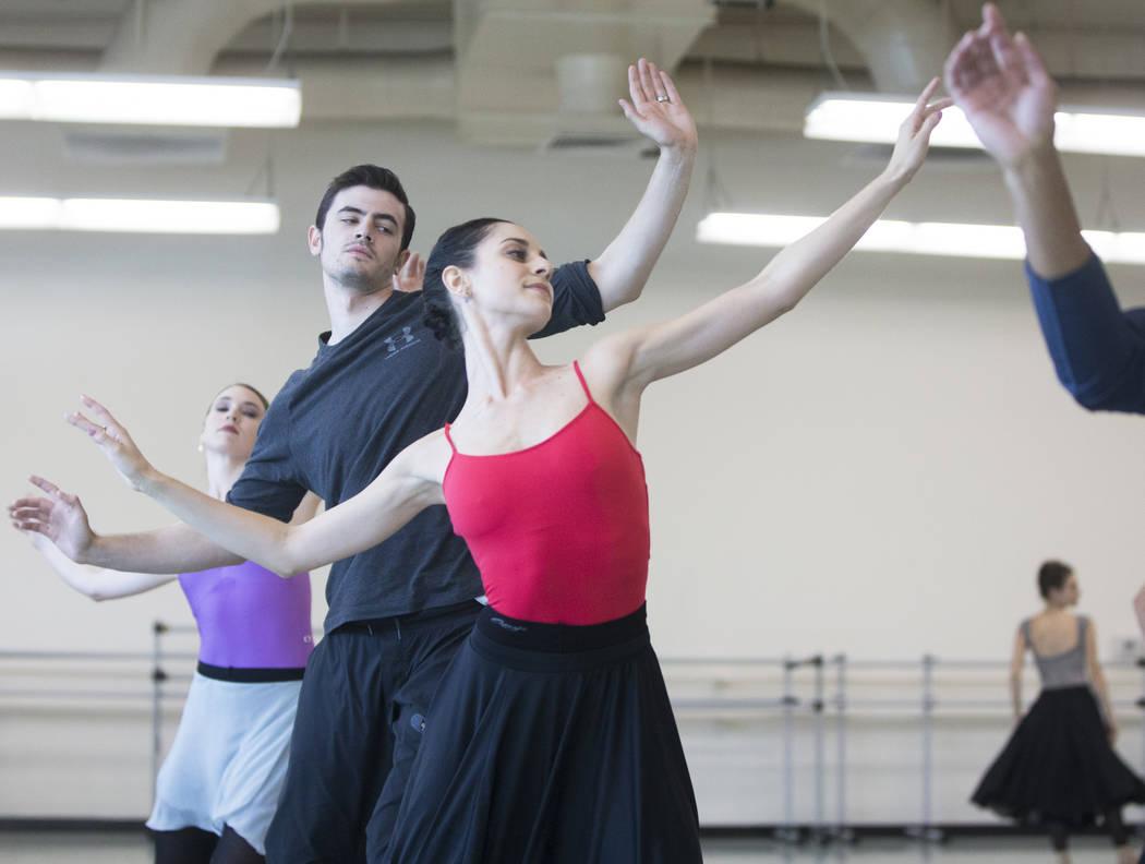 "Mirella Costa Neto, middle, rehearses ""Company B"" with fellow Nevada Ballet Theatre dancers on Friday, Nov. 3, 2017, in Las Vegas. Benjamin Hager Las Vegas Review-Journal @benjam ..."