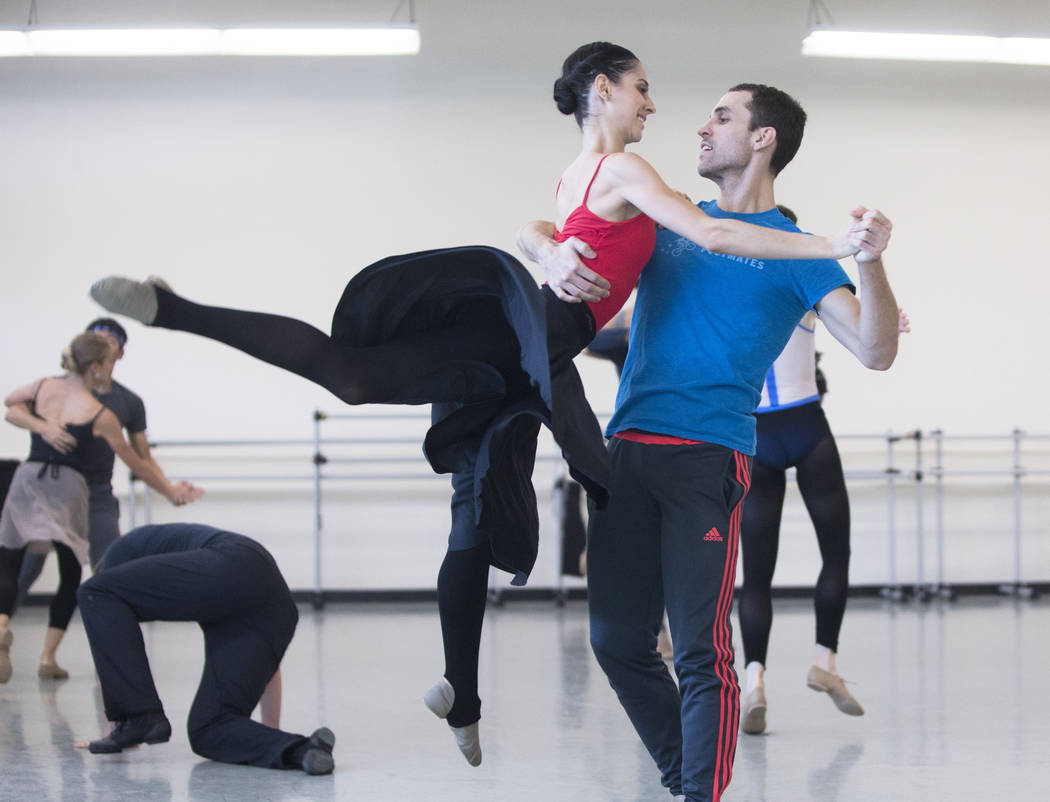 "Nevada Ballet Theatre's Mirella Costa Neto, left, rehearses ""Company B"" with David Hochberg on Friday, Nov. 3, 2017, in Las Vegas. Benjamin Hager Las Vegas Review-Journal @benjam ..."