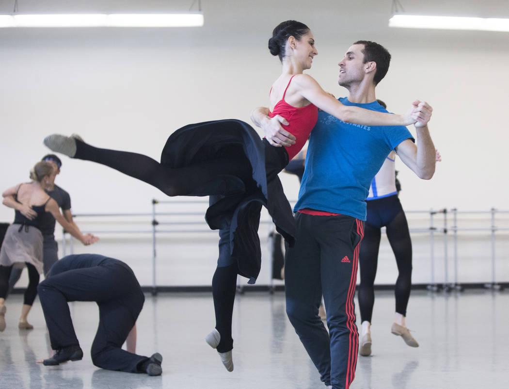 "Nevada Ballet Theatre's Mirella Costa Neto, left, rehearses ""Company B"" with David Hochberg on Friday, Nov. 3, 2017, in Las Vegas. Benjamin Hager Las Vegas Review-Journal @benjam ..."