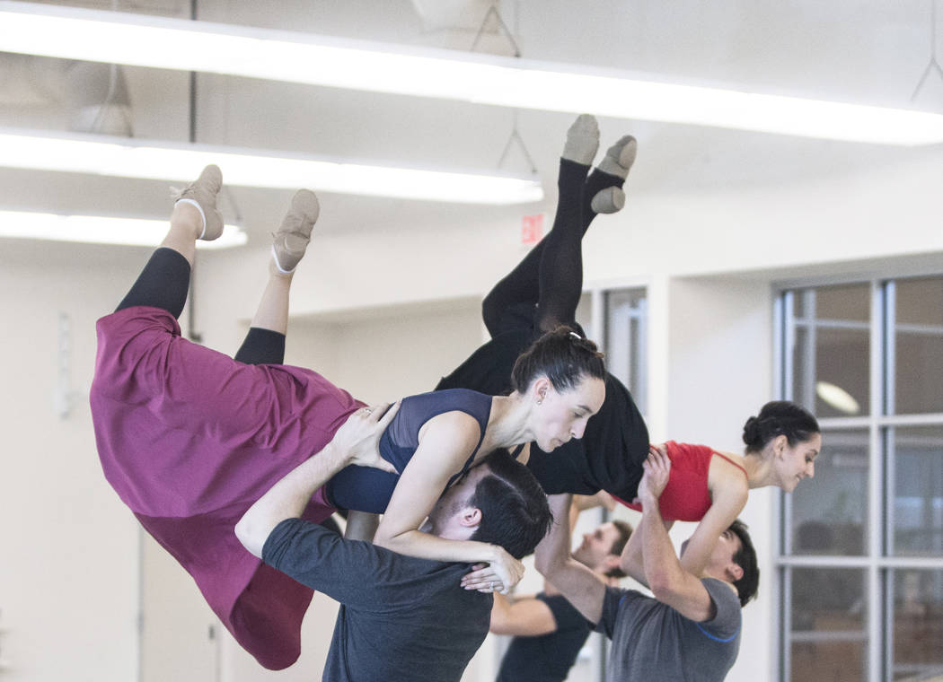 "Krista Baker, left, leaps into the arms of a fellow dancer during the Nevada Ballet Theatre's rehearsal of ""Company B"" on Friday, Nov. 3, 2017, in Las Vegas. Benjamin Hager Las V ..."