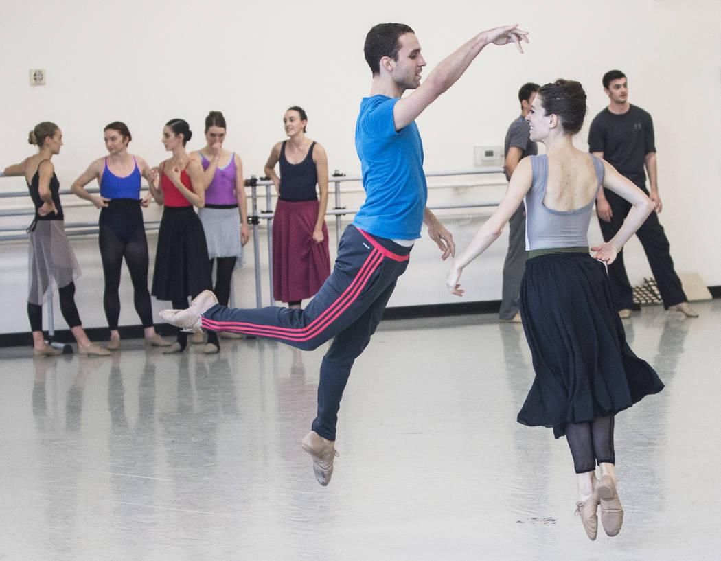 "Nevada Ballet Theatre's David Hochberg, middle,  rehearses ""Company B"" with Betsy Lucas on Friday, Nov. 3, 2017, in Las Vegas. Benjamin Hager Las Vegas Review-Journal @benjaminhphoto"