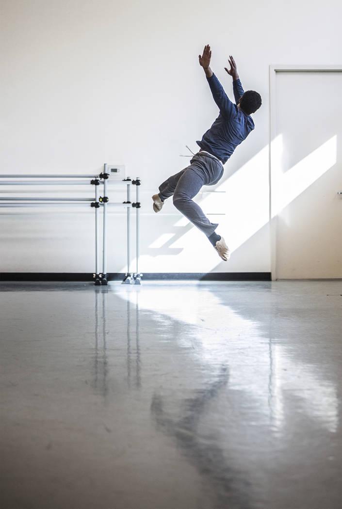 "Nevada Ballet Theatre's Kenneth Shelby rehearses ""Company B"" on Friday, Nov. 3, 2017, in Las Vegas. Benjamin Hager Las Vegas Review-Journal @benjaminhphoto"