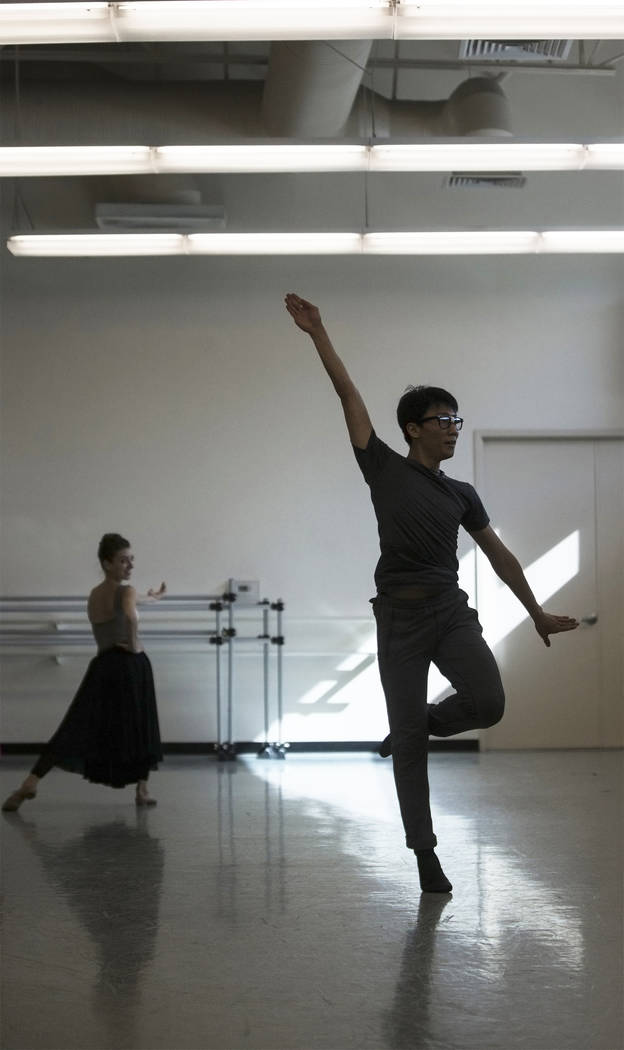 "Nevada Ballet Theatre's Jun Tanabe, right, rehearses ""Company B"" on Friday, Nov. 3, 2017, in Las Vegas. Benjamin Hager Las Vegas Review-Journal @benjaminhphoto"