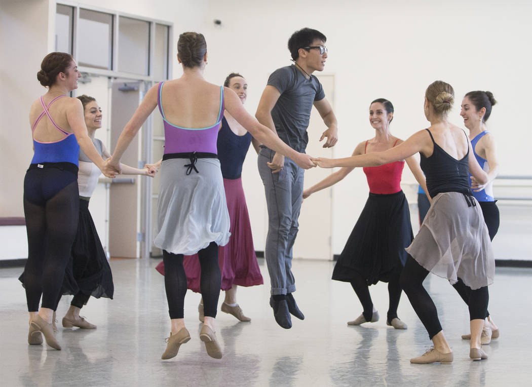 """Jun Tanabe, middle, rehearses """"Company B"""" with fellow Nevada Ballet Theatre dancers on Friday, Nov. 3, 2017, in Las Vegas. Benjamin Hager Las Vegas Review-Journal @benjaminhphoto"""