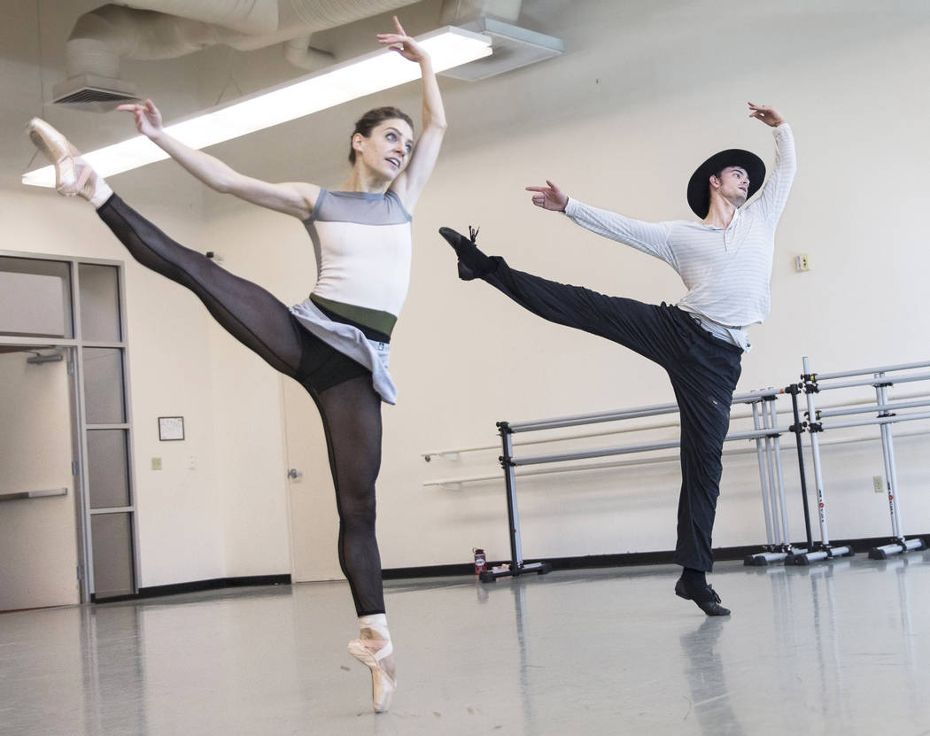 "Nevada Ballet Theatre's Betsy Lucas, left, and Steven Goforth rehearse ""Western Symphony"" on Friday, Nov. 3, 2017, in Las Vegas. Benjamin Hager Las Vegas Review-Journal @benjamin ..."