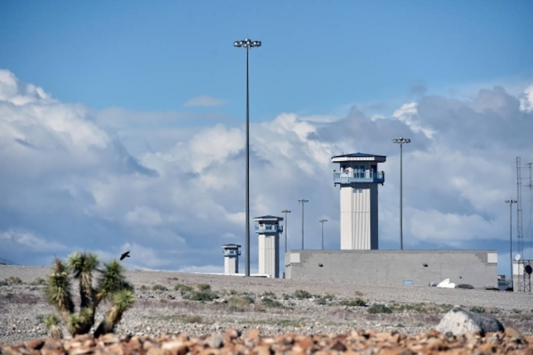 Watch towers at the High Desert State Prison, a part of the State of Nevada Department of Corrections, are seen Nov. 10, 2015. (David Becker/Las Vegas Review-Journal)