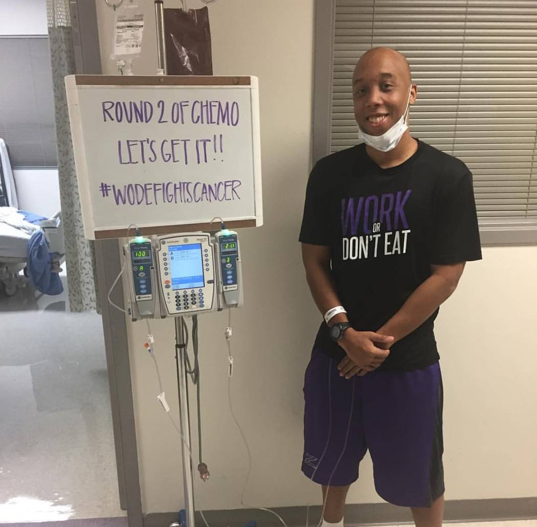Jermaine Seagears poses for a portrait in the hospital as he went through a second round of chemotherapy to treat Lymphoma cancer. (Courtesy of Jermaine Seagears)