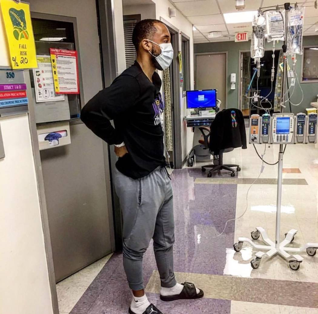 Jermaine Seagears in the hospital as he underwent cancer treatment for about nine months. (Courtesy of Jermaine Seagears)