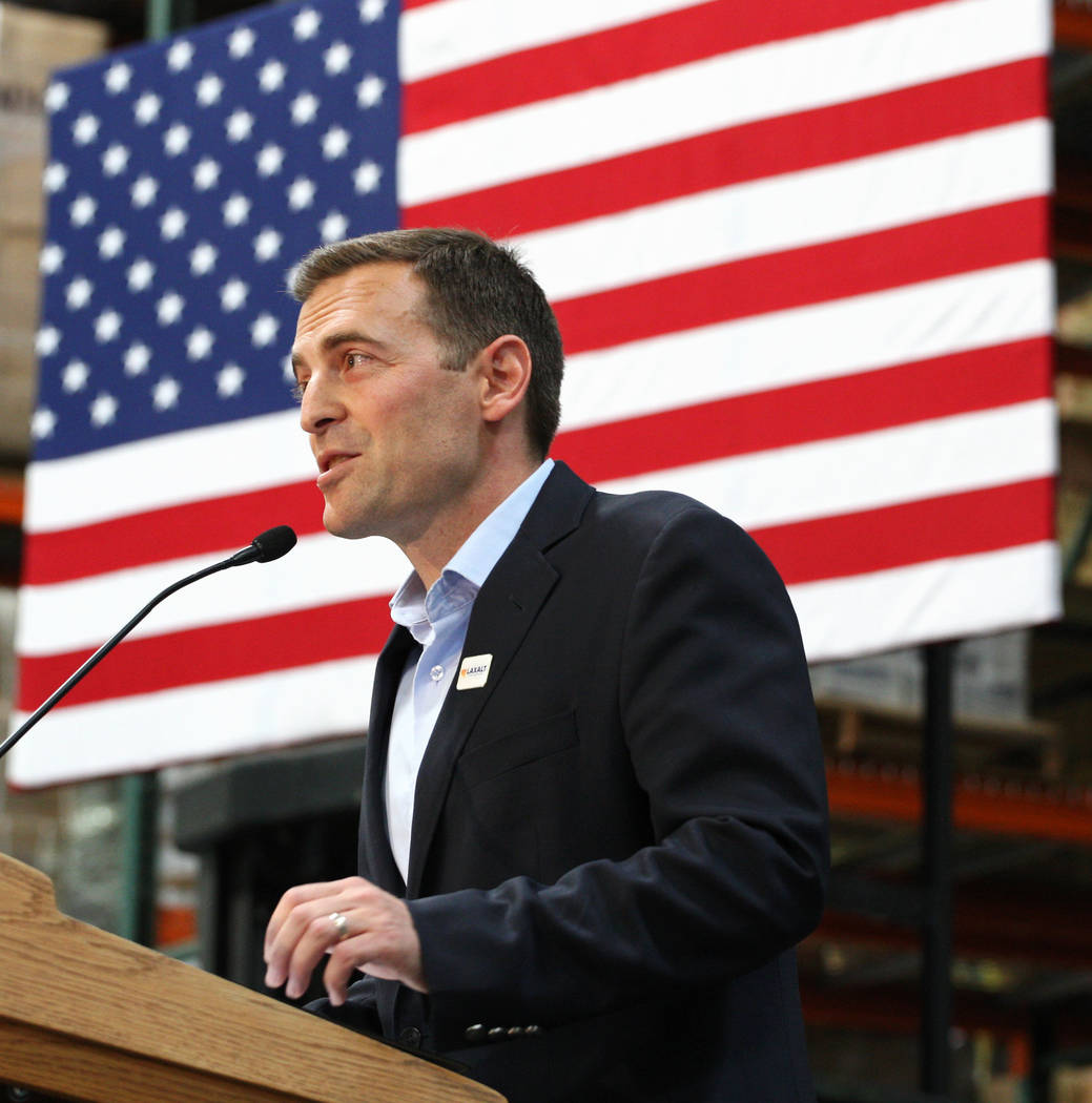 Nevada Attorney General Adam Laxalt announcing his bid for governor at Brady Industries's warehouse in Las Vegas, Wednesday, Nov. 1, 2017. Gabriella Benavidez Las Vegas Review-Journal @latina_ish