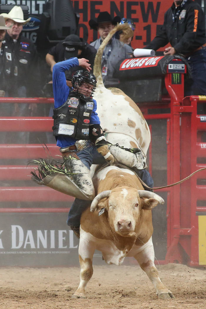 Dakota Buttar from Kindersley, Canada rides during the Professional Bull Riders World Finals at T-Mobile Arena in Las Vegas on Wednesday, Nov. 1, 2017. Bridget Bennett Las Vegas Review-Journal @Br ...