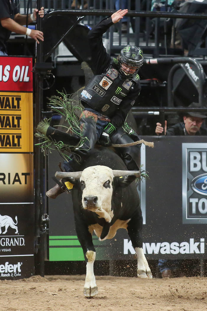 Derek Kolbaba from Walla Walla, Washington rides during the Professional Bull Riders World Finals at T-Mobile Arena in Las Vegas on Wednesday, Nov. 1, 2017. Bridget Bennett Las Vegas Review-Journa ...