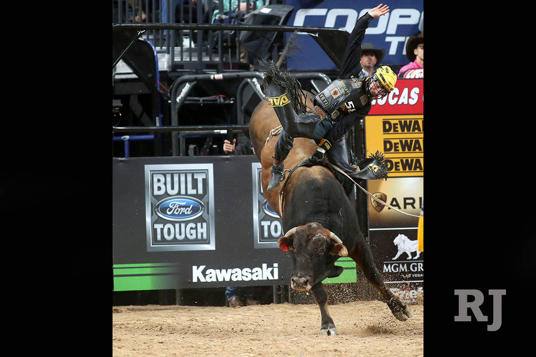 Jess Lockwood from Volborg, Montana rides during the Professional Bull Riders World Finals at T-Mobile Arena in Las Vegas on Wednesday, Nov. 1, 2017. Bridget Bennett Las Vegas Review-Journal @Brid ...