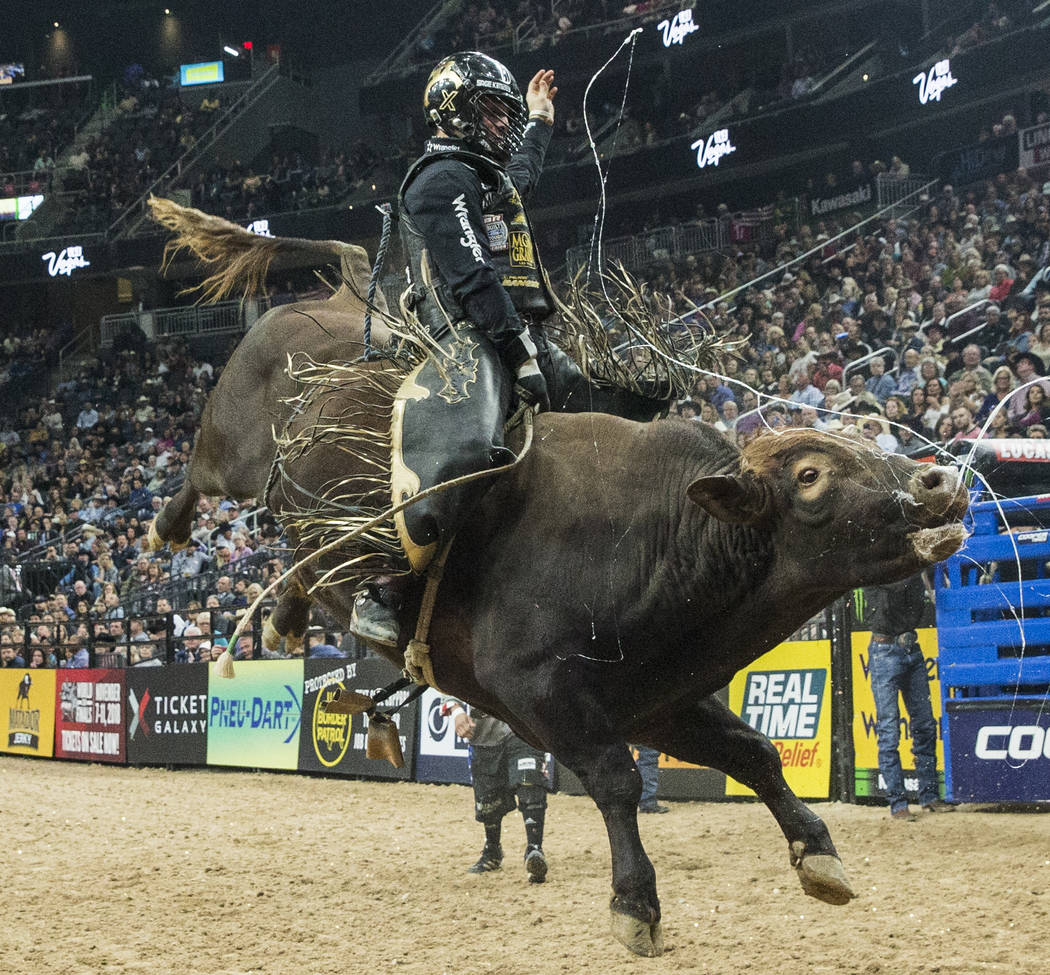 Sage Kimzey rides Up and In during the Professional Bull Riders World Finals on Saturday, Nov. 4, 2017, at T-Mobile Arena, in Las Vegas. Benjamin Hager Las Vegas Review-Journal @benjaminhphoto
