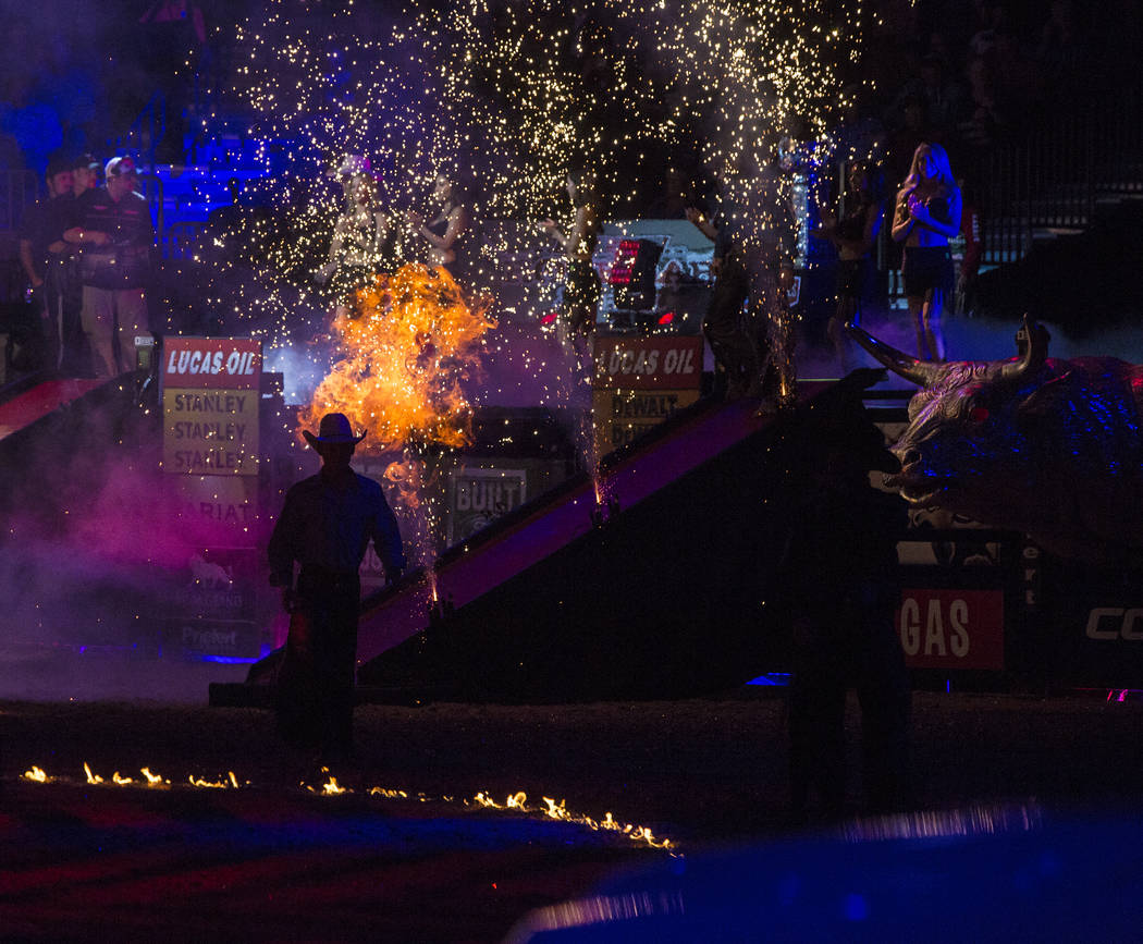Bull riders are introduced before the start of the 2017 Professional Bull Riders World Champion on Sunday, Nov. 5, 2017, at T-Mobile Arena, in Las Vegas. Benjamin Hager Las Vegas Review-Journal @b ...