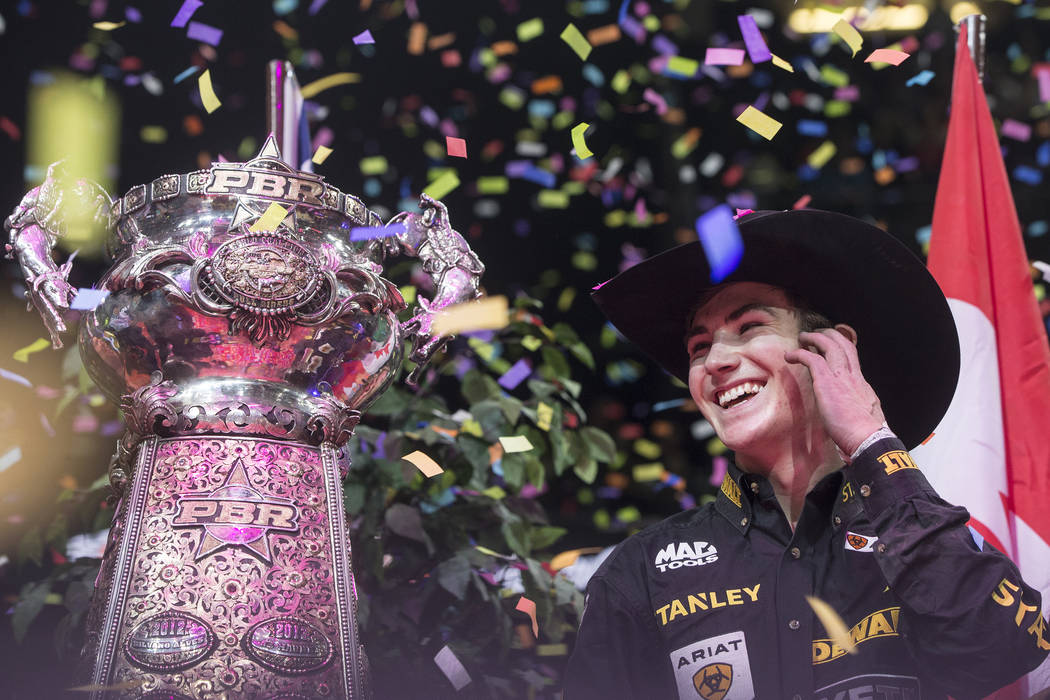 Jess Lockwood celebrates after becoming the 2017 Professional Bull Riders World Champion on Sunday, Nov. 5, 2017, at T-Mobile Arena, in Las Vegas. Benjamin Hager Las Vegas Review-Journal @benjamin ...