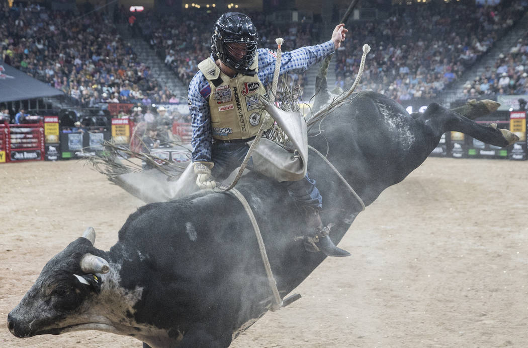 Brennon Eldred rides Blue Stone during the Professional Bull Riders World Finals on Sunday, Nov. 5, 2017, at T-Mobile Arena, in Las Vegas. Benjamin Hager Las Vegas Review-Journal @benjaminhphoto