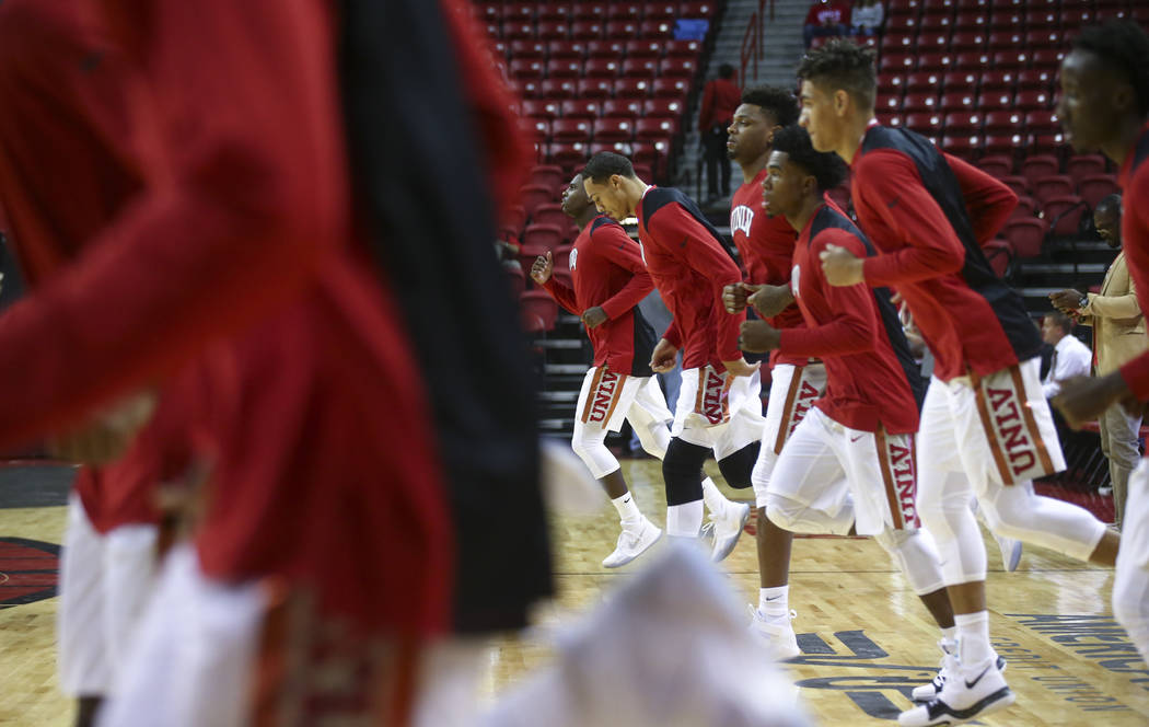 UNLV players warm up before taking on Florida A&M in a basketball game at the Thomas & Mack Center in Las Vegas on Saturday, Nov. 11, 2017. Chase Stevens Las Vegas Review-Journal @cssteven ...