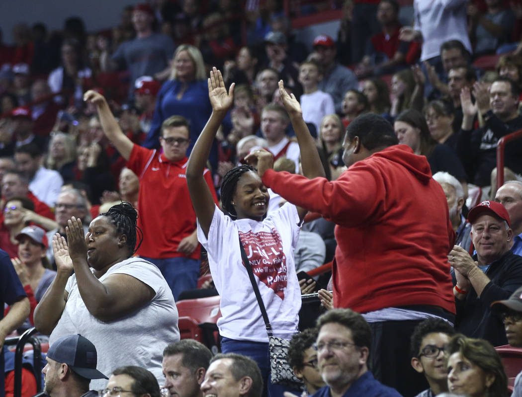 UNLV fans cheer as their team plays Florida A&M during their basketball game at the Thomas & Mack Center in Las Vegas on Saturday, Nov. 11, 2017. Chase Stevens Las Vegas Review-Journal @cs ...