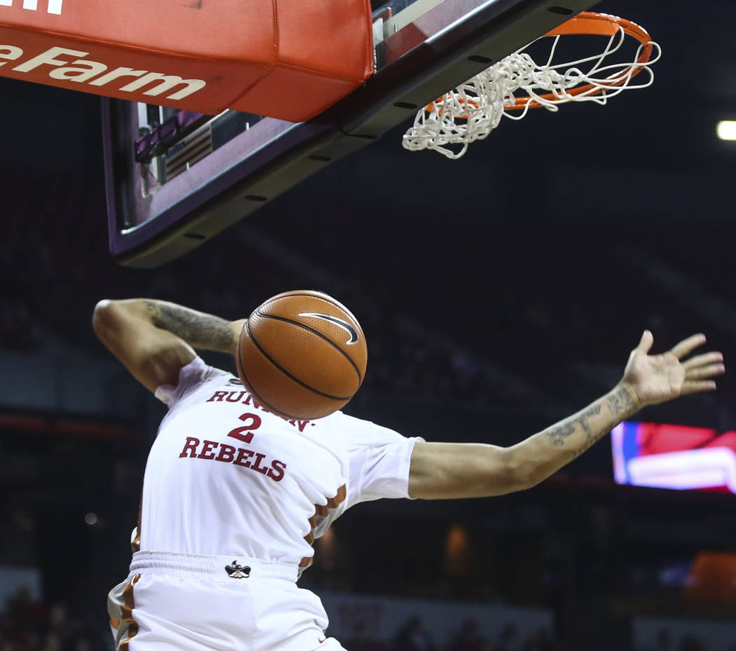 UNLV's Anthony Smith (2) dunks the ball against Florida A&M during their basketball game at the Thomas & Mack Center in Las Vegas on Saturday, Nov. 11, 2017. Chase Stevens Las Vegas Review ...
