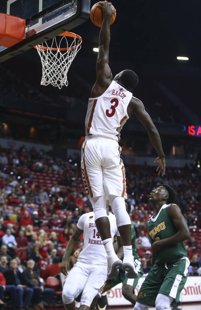 UNLV's Amauri Hardy (3) dunks against Florida A&M during their basketball game at the Thomas & Mack Center in Las Vegas on Saturday, Nov. 11, 2017. Chase Stevens Las Vegas Review-Journal @ ...