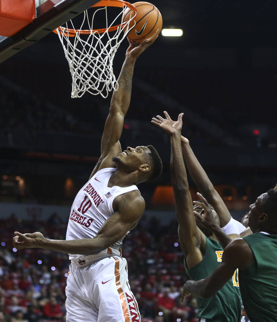 UNLV Rebels' forward Shakur Juiston (10) gets the ball in past Florida A&M during their basketball game at the Thomas & Mack Center in Las Vegas on Saturday, Nov. 11, 2017. Chase Stevens L ...