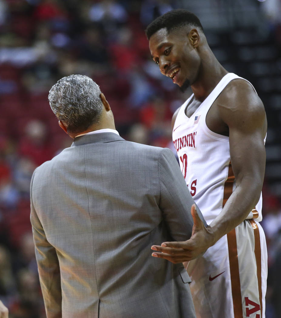 UNLV head coach Marvin Menzies talks with UNLV's Shakur Juiston (10) during their basketball game at the Thomas & Mack Center in Las Vegas on Saturday, Nov. 11, 2017. Chase Stevens Las Vegas R ...