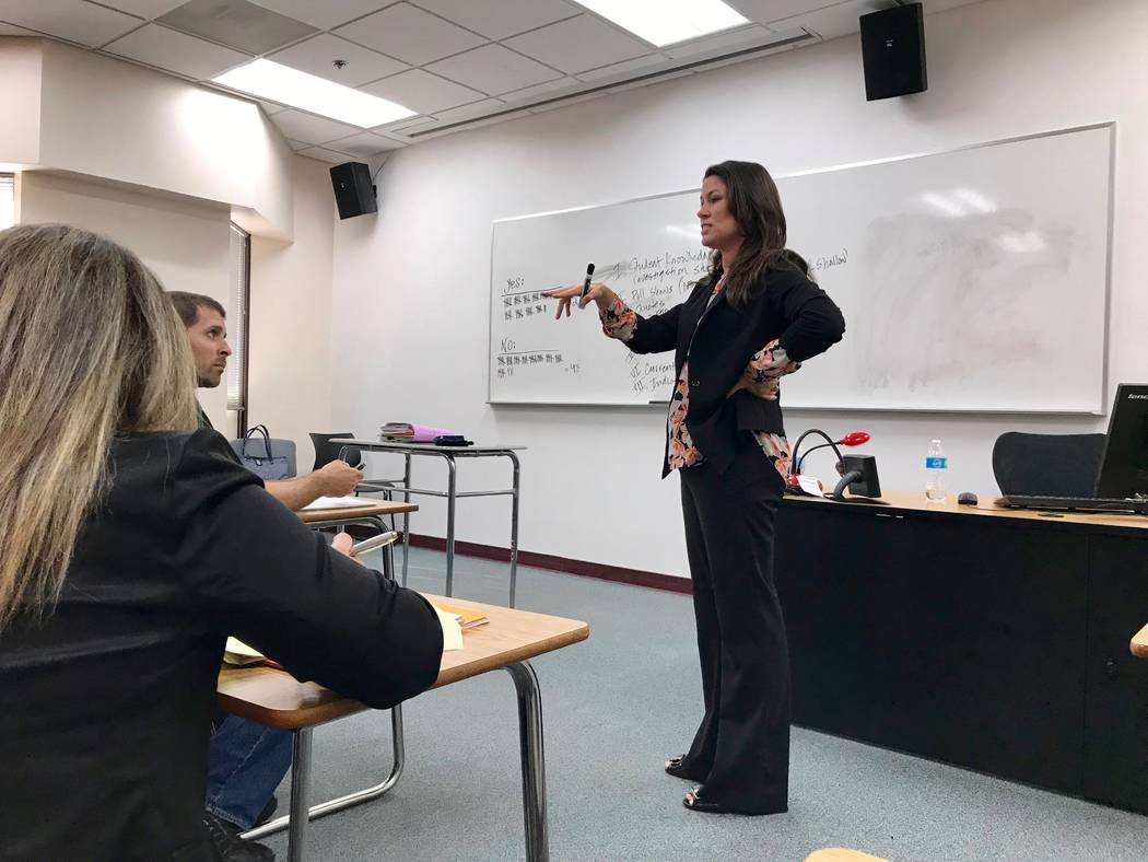 Professor Jennifer Mitchell talks to her News Production I class about an in-class assignment that had them interview other CSN students about the Trump-Russia investigation. (Madelyn Reese/View)  ...