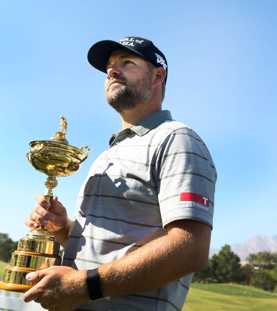 Las Vegas local and Ryder Cup title holder Ryan Moore with the Ryder Cup during the preview day of the Shriners Hospitals for Children Open, PGA Tour at TPC Summerlin in Las Vegas, Wednesday, Nov. ...