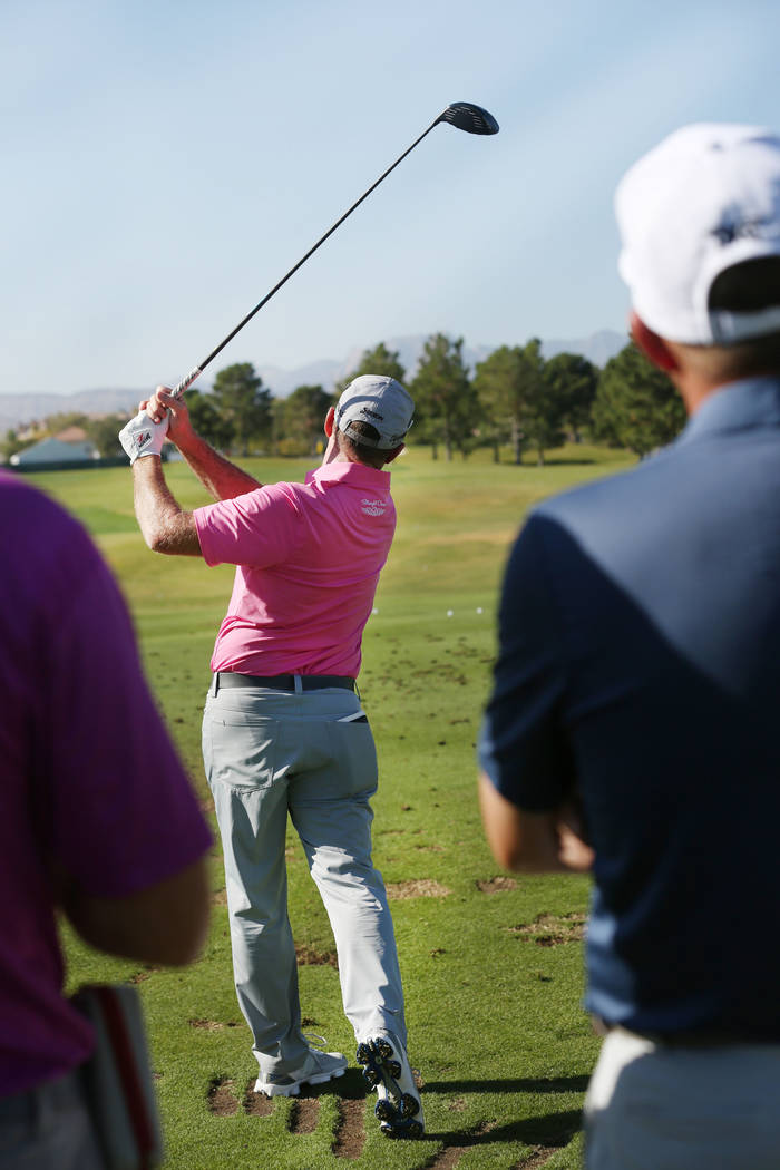 Australian professional golfer Rod Pampling swings on the driving range during the preview day of Shriners Hospitals for Children Open, PGA Tour at TPC Summerlin in Las Vegas, Wednesday, Nov. 1, 2 ...