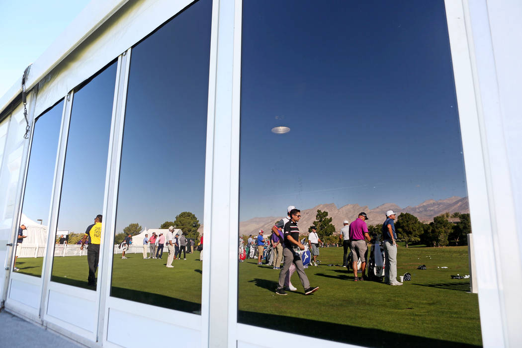 Participants of the Shriners Hospitals for Children Open, PGA Tour on the driving range on preview day at TPC Summerlin in Las Vegas, Wednesday, Nov. 1, 2017. Elizabeth Brumley Las Vegas Review-Jo ...