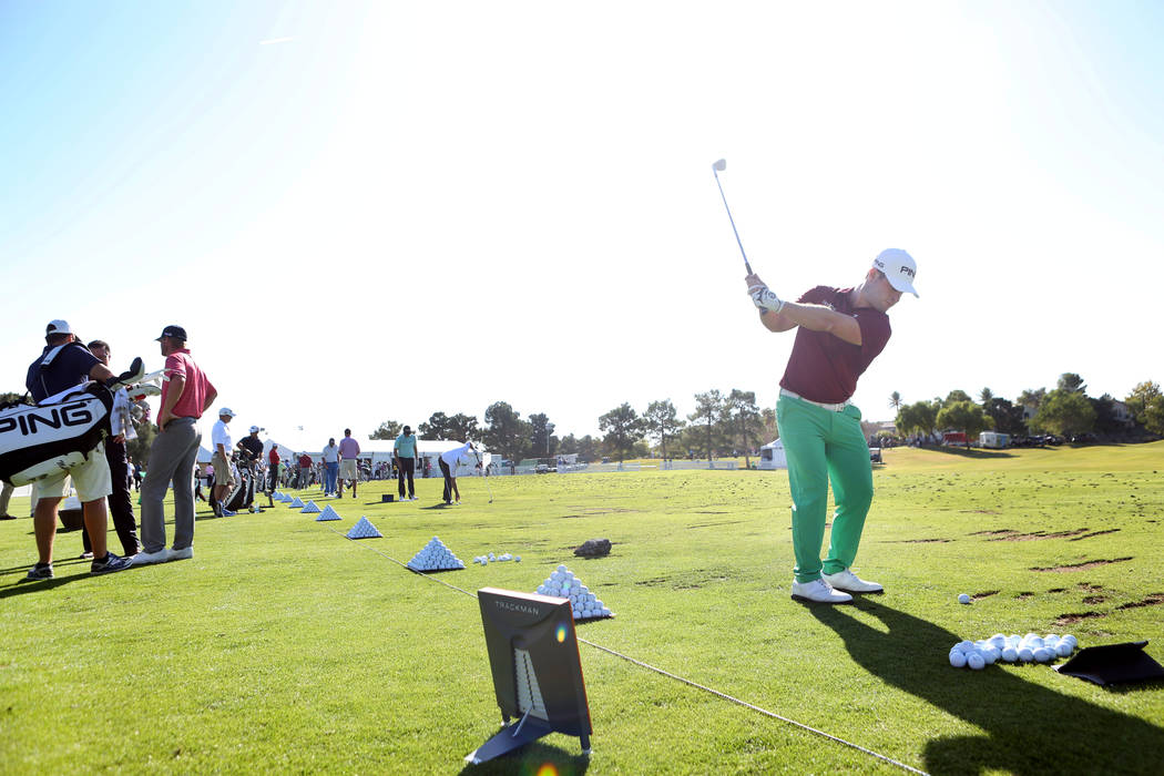 Swedish professional golfer David Lingmerth swings on the driving range during the preview day of Shriners Hospitals for Children Open, PGA Tour at TPC Summerlin in Las Vegas, Wednesday, Nov. 1, 2 ...