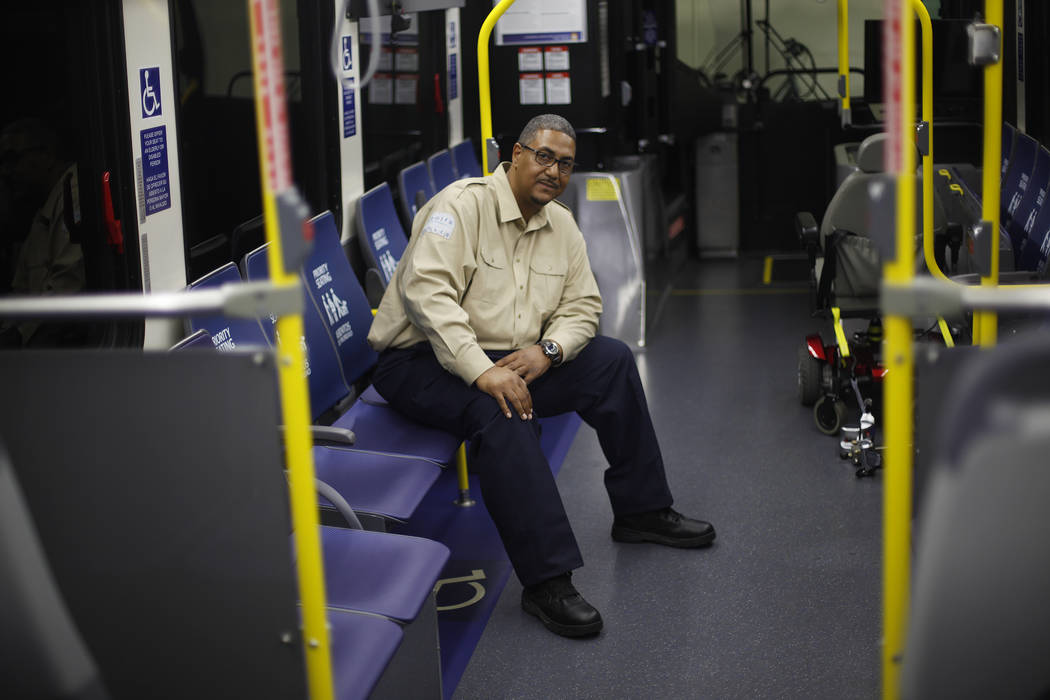 Antonio McLandau, a bus driver for the Regional Transportation Commission, at the RTC Mobility Center in Las Vegas, Tuesday, Oct. 31, 2017. He entered the chaotic scene of the Route 91 shooting wh ...