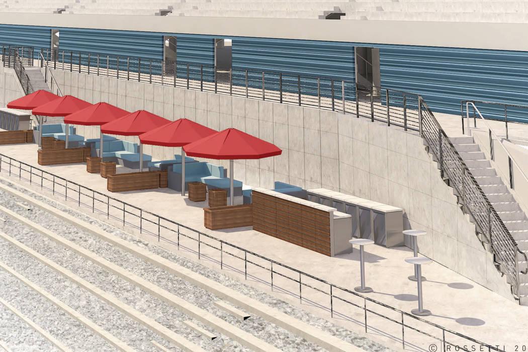 A rendering of Las Vegas Motor Speedway's planned Turn One social pavilion. (Las Vegas Motor Speedway)