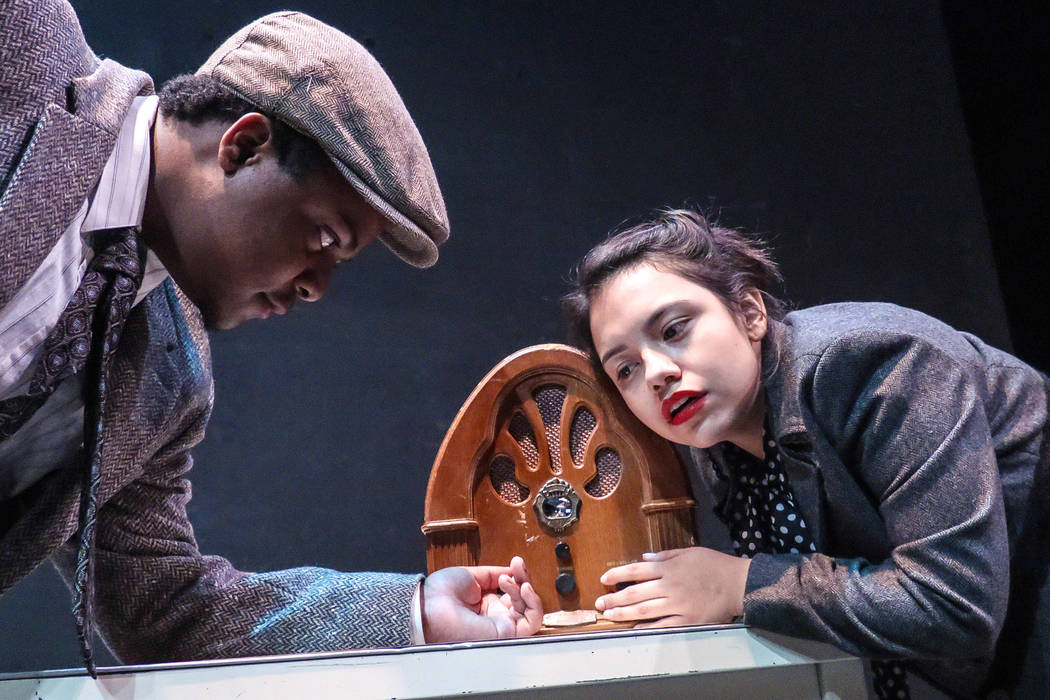 "College of Southern Nevada students Jay Reagan and Maria Leon rehearse the U.S. premiere of German playwright Christoph Hein's ""Passage,"" about World War II refugees try to es ..."