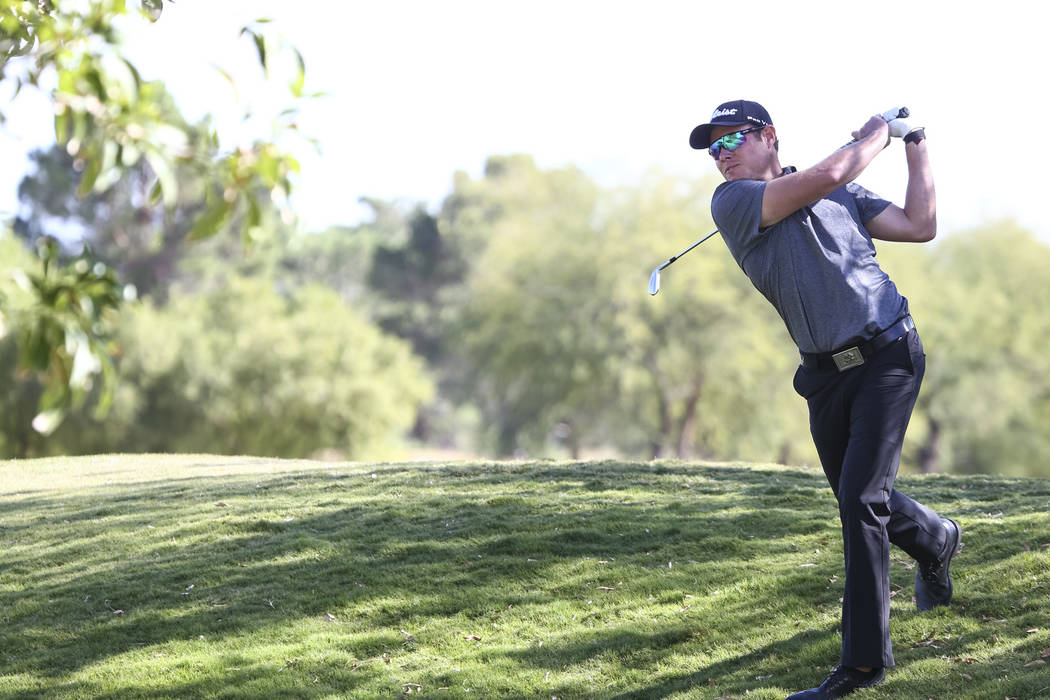 A.J. McInerney of Henderson takes a shot on the ninth hole during the first round of the Shriners Hospitals For Children Open at TPC at Summerlin in Las Vegas, Thursday, Nov. 2, 2017. Richard Bria ...
