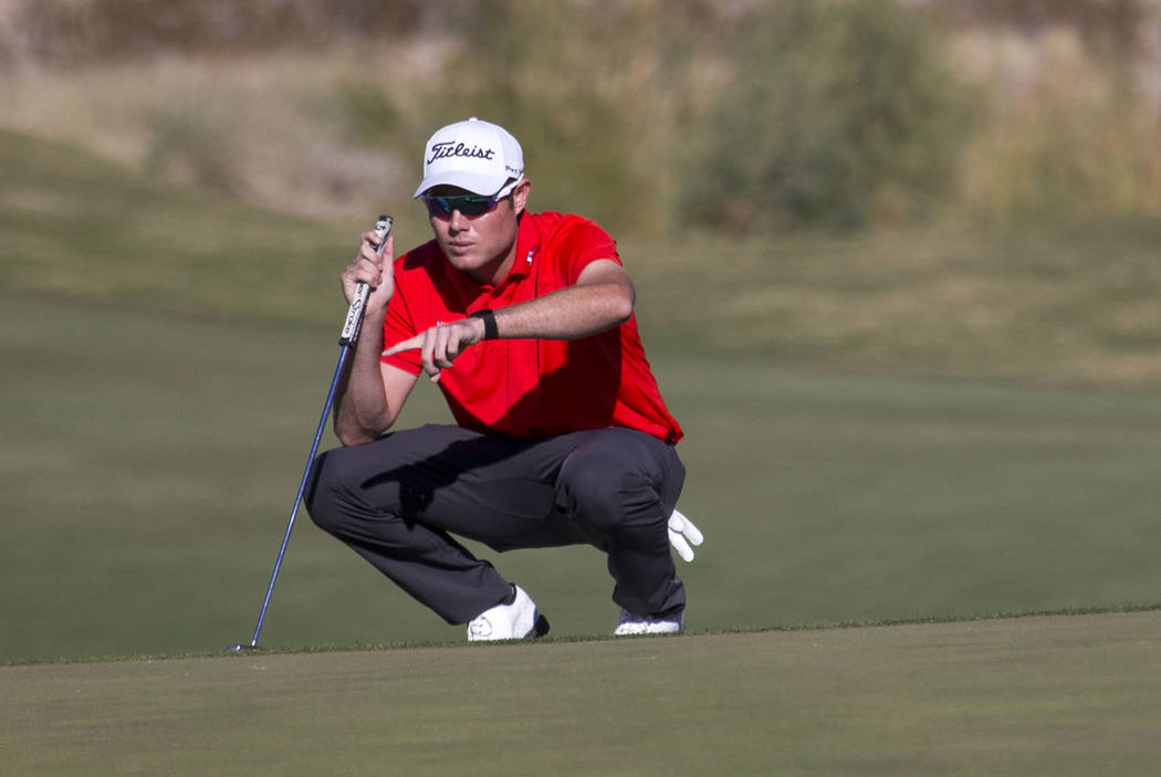 A.J. McInerney of Henderson lines up a putt on the 15th hole during the final round of the Shriners Hospitals For Children Open at TPC at Summerlin in Las Vegas, Sunday, Nov. 5, 2017. Richard Bria ...