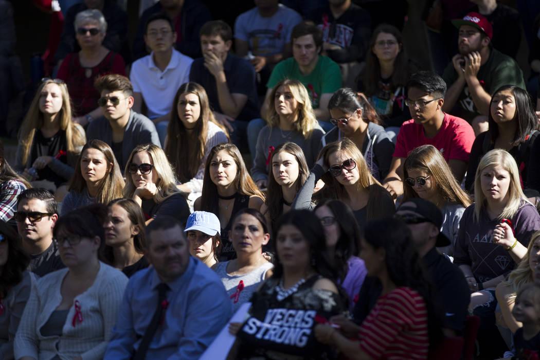 People attend a remembrance ceremony for the mass shooting victims at UNLV in Las Vegas, Thursday, Nov. 2, 2017. Erik Verduzco Las Vegas Review-Journal @Erik_Verduzco