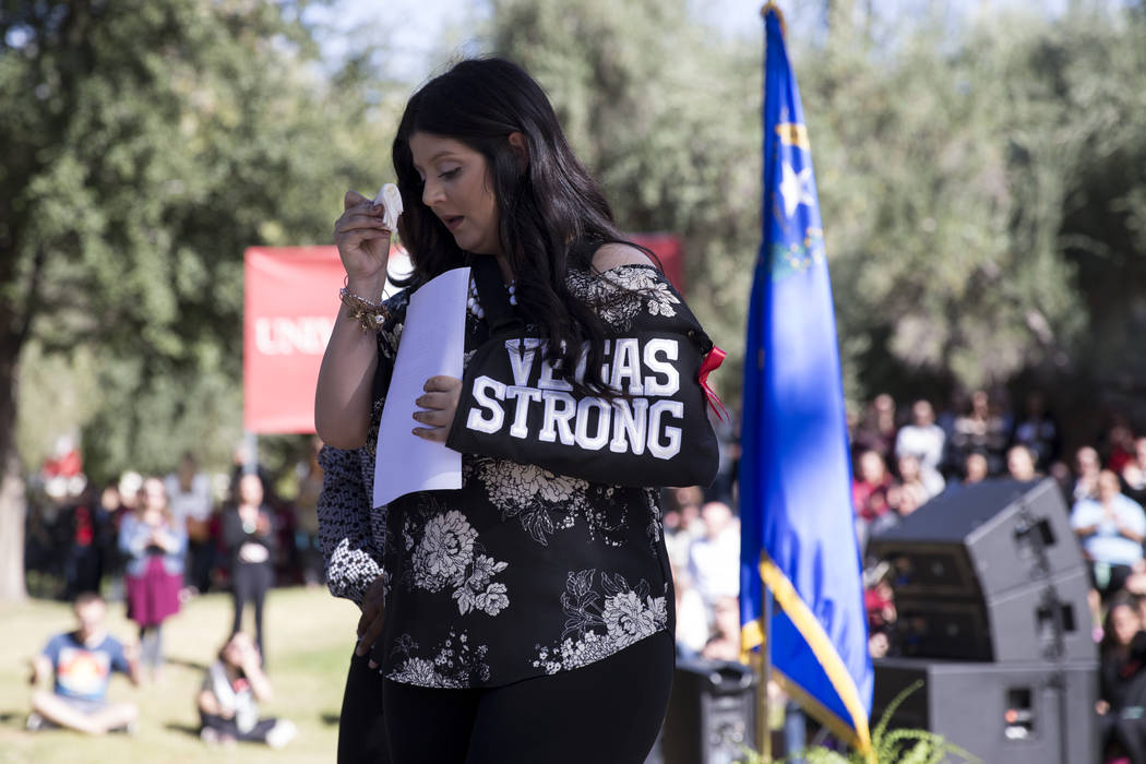 Karessa Royce, a UNLV student, who was shot during the Route 91 Harvest Festival, during a remembrance ceremony for the mass shooting victims at UNLV in Las Vegas, Thursday, Nov. 2, 2017. Erik Ver ...