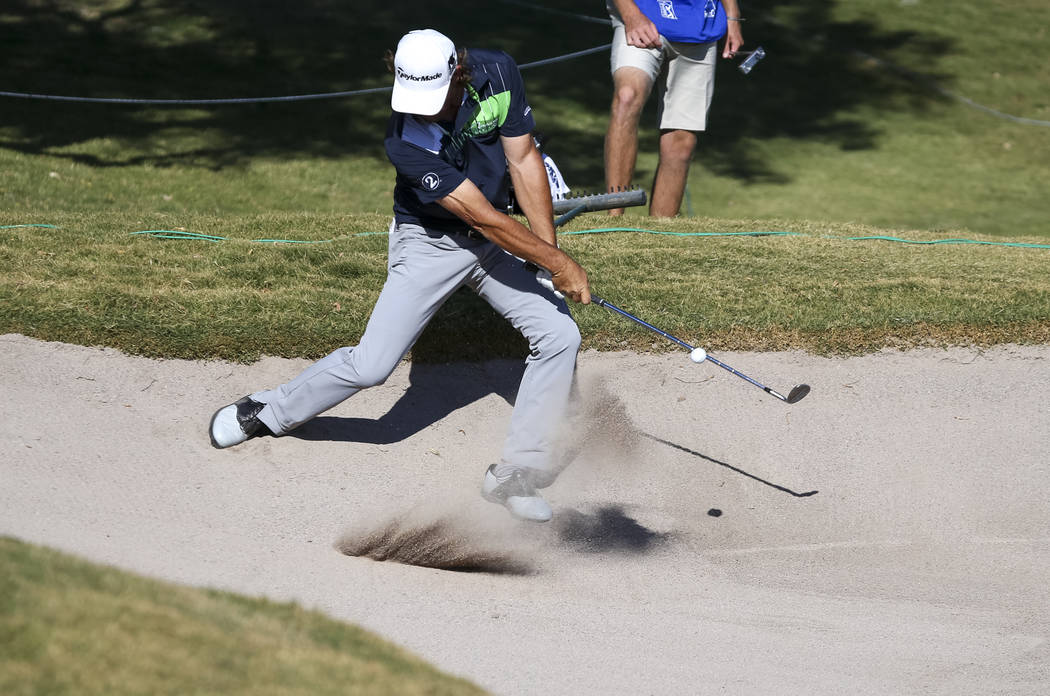 Alex Cejka of Germany takes a shot from the bunker on the ninth hole during the first round of the Shriners Hospitals For Children Open at TPC at Summerlin in Las Vegas, Thursday, Nov. 2, 2017. Ri ...