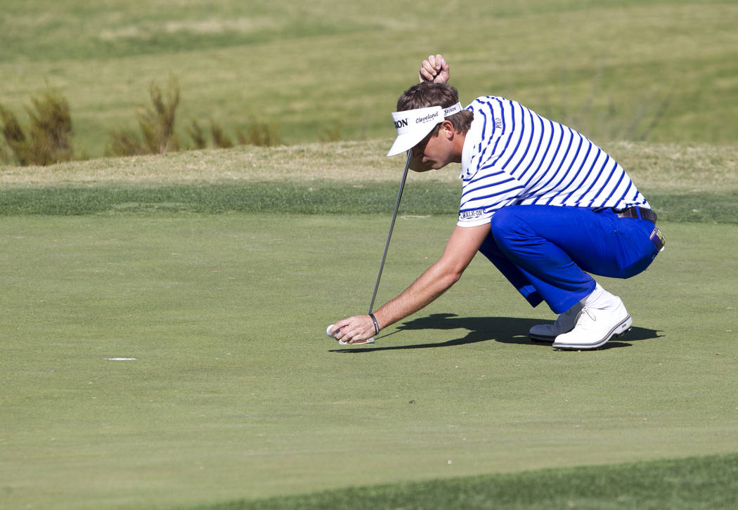 Smylie Kaufman of Alabama lines up a putt on the third green during the first round of the Shriners Hospitals For Children Open at TPC at Summerlin in Las Vegas, Thursday, Nov. 2, 2017. Richard Br ...