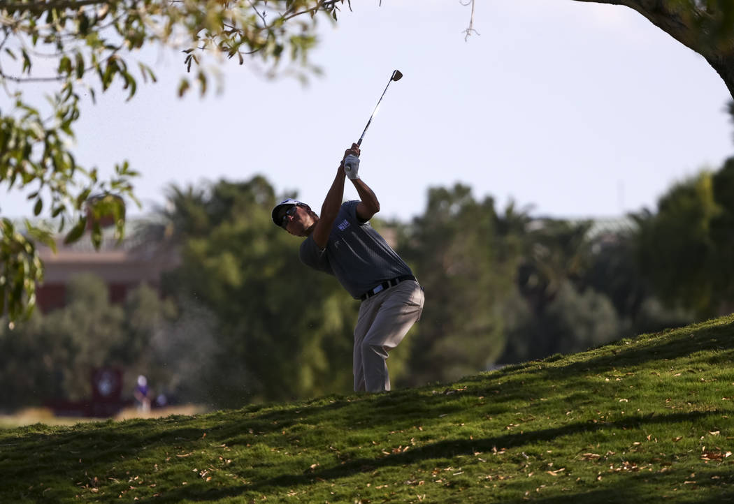 Richy Werensky of Florida takes a shot on the ninth hole during the first round of the Shriners Hospitals For Children Open at TPC at Summerlin in Las Vegas, Thursday, Nov. 2, 2017. Richard Brian  ...