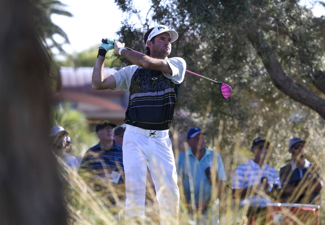 Bubba Watson watches his tee shot on the ninth hole during the first round of the Shriners Hospitals For Children Open at TPC at Summerlin in Las Vegas, Thursday, Nov. 2, 2017. Richard Brian Las V ...