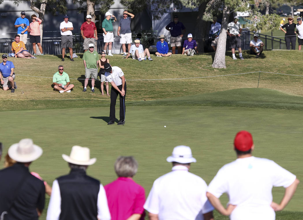 Jimmy Walker of Texas putts a shot on the ninth hole during the first round of the Shriners Hospitals For Children Open at TPC at Summerlin in Las Vegas, Thursday, Nov. 2, 2017. Richard Brian Las  ...