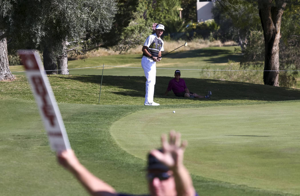 Bubba Watson of Florida watches his putt on the eighth hole during the first round of the Shriners Hospitals For Children Open at TPC at Summerlin in Las Vegas, Thursday, Nov. 2, 2017. Richard Bri ...