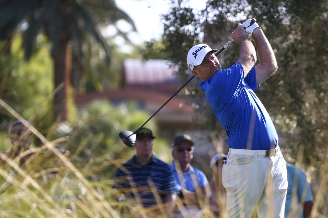 Rod Pampling of Australia watches his tee shot on the ninth hole during the first round of the Shriners Hospitals For Children Open at TPC at Summerlin in Las Vegas, Thursday, Nov. 2, 2017. Richar ...