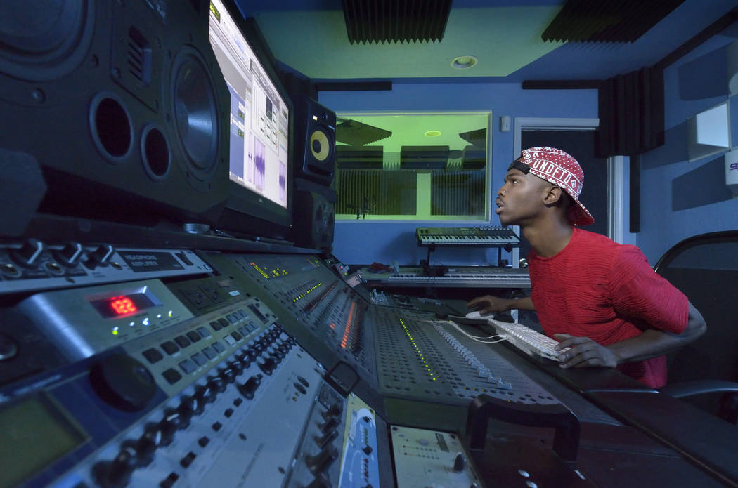 Charley Thomas works as an audio engineer at Triple P Records in North Las Vegas on Wednesday, Nov. 1, 2017. Thomas, who doesn't have a high school diploma, is hoping to get one due to a statewide ...