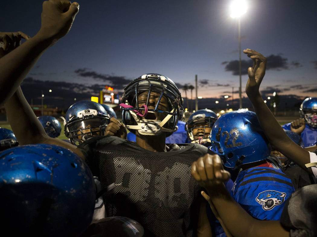 Warriors running back Heavon Bruner, 15, leads his team on a break during the team's practice at a football field at Ed Fountain Park, Thursday, Nov. 2, 2017. Richard Brian Las Vegas Review-Journa ...