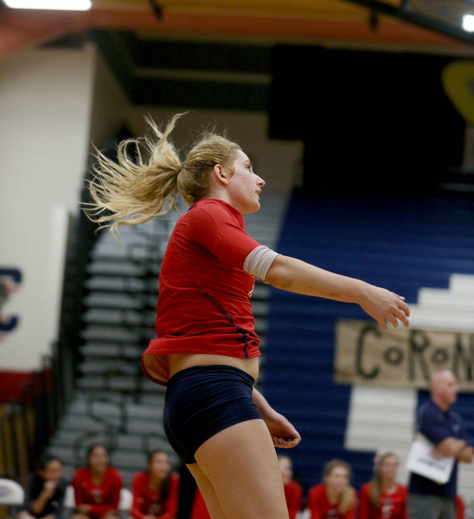 Coronado's Madison Karcich follows through on a scoring serve against Foothill during the Class 4A Sunrise Region volleyball semifinal at Coronado High School in Henderson, Thursday, Nov. 2, 2017. ...