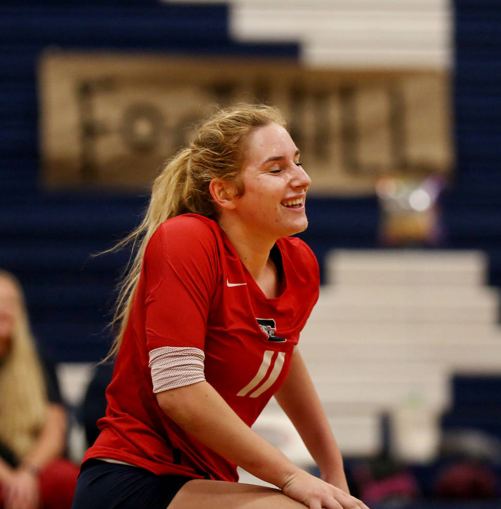 Coronado's Madison Karcich smiles after scoring a point against Foothill during the Class 4A Sunrise Region volleyball semifinal at Coronado High School in Henderson, Thursday, Nov. 2, 2017. Eliza ...