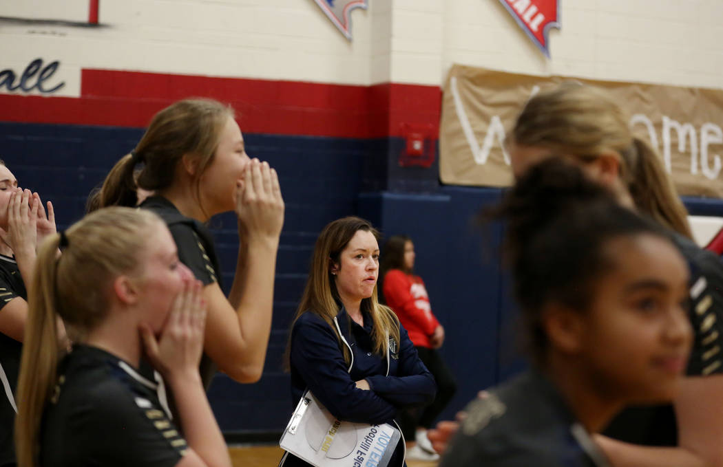 Foothill coach Krysta Ortiz, center, during the Class 4A Sunrise Region volleyball semifinal at Coronado High School in Henderson, Thursday, Nov. 2, 2017. Elizabeth Brumley Las Vegas Review-Journa ...